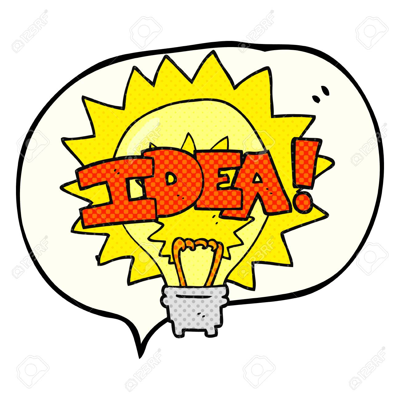 comic book speech bubble cartoon idea light bulb symbol