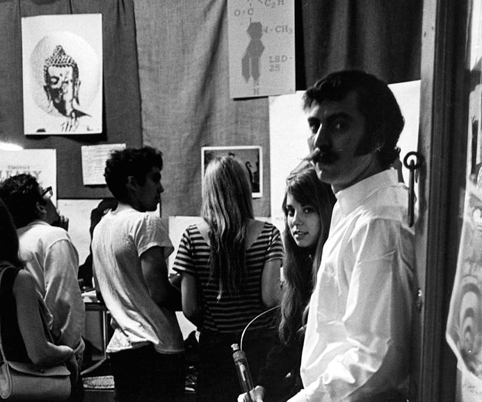 Portrait of Betsy and Jeff Glick (at right) in Head Shop, their store at 304 E 9th Street, New York, New York, June 25, 1966. (Photo by Fred W. McDarrah/Getty Images)