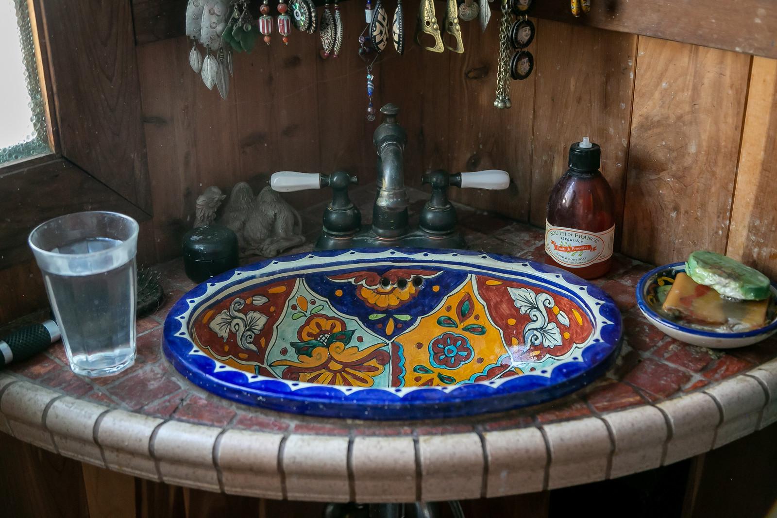 Tiles set by Lisa Bullwinkel's husband Tim.